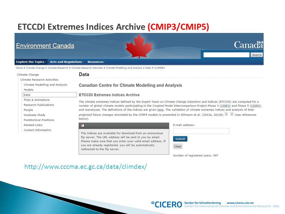 http://www.cccma.ec.gc.ca/data/climdex/ ETCCDI Extremes Indices Archive (CMIP3/CMIP5)