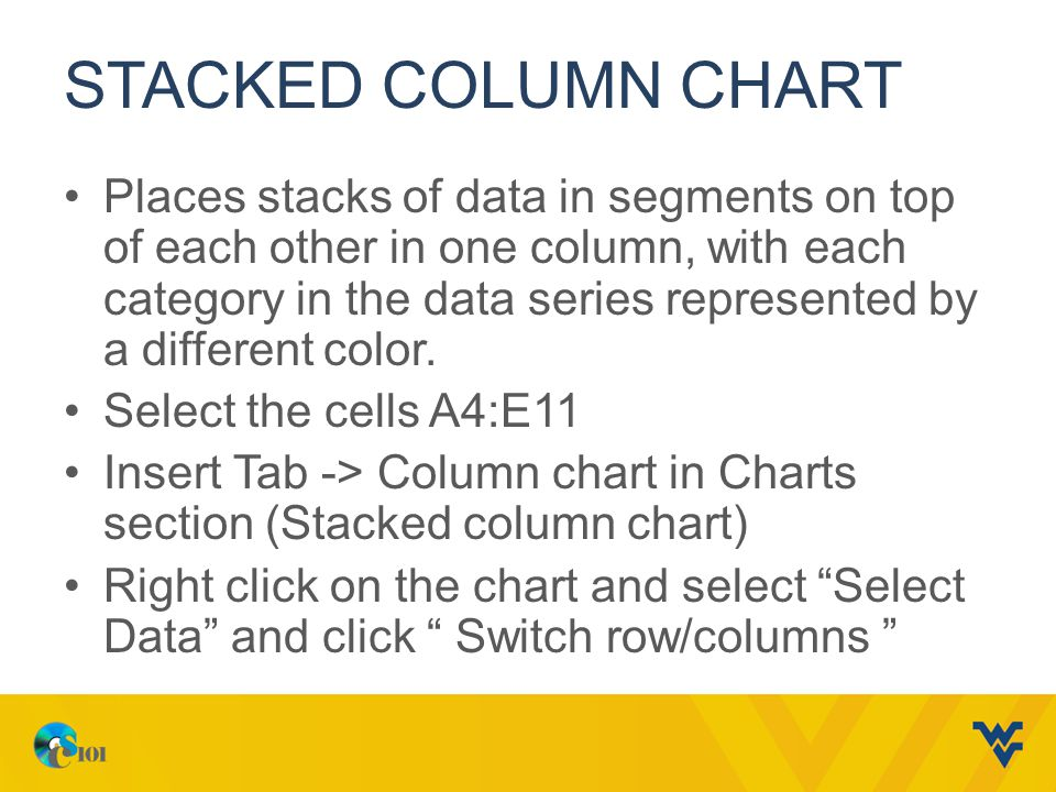 STACKED COLUMN CHART Places stacks of data in segments on top of each other in one column, with each category in the data series represented by a different color.