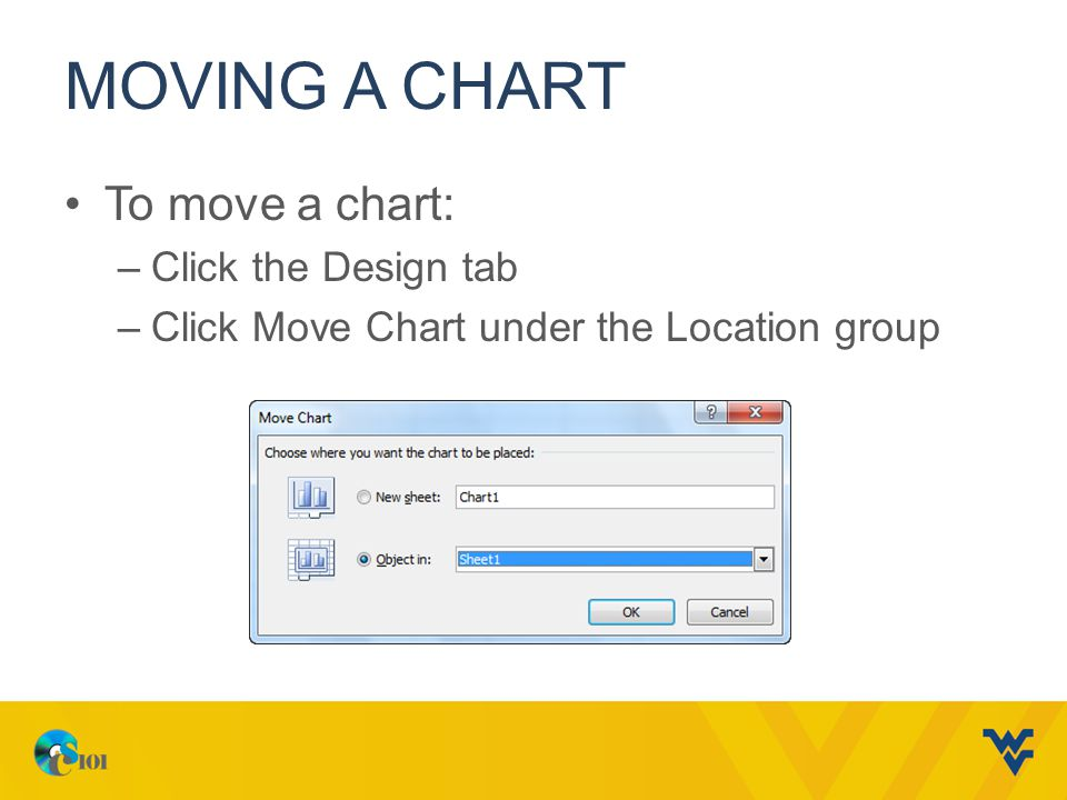 MOVING A CHART To move a chart: –Click the Design tab –Click Move Chart under the Location group