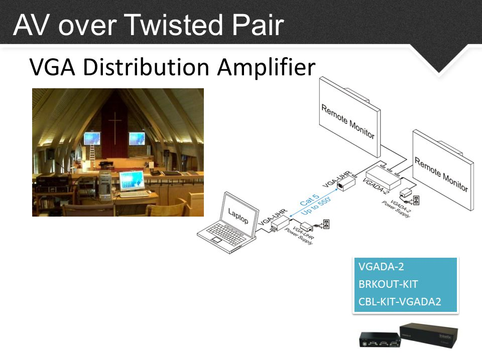 VGA Distribution Amplifier AV over Twisted Pair VGADA-2 BRKOUT-KIT CBL-KIT-VGADA2 VGADA-2 BRKOUT-KIT CBL-KIT-VGADA2