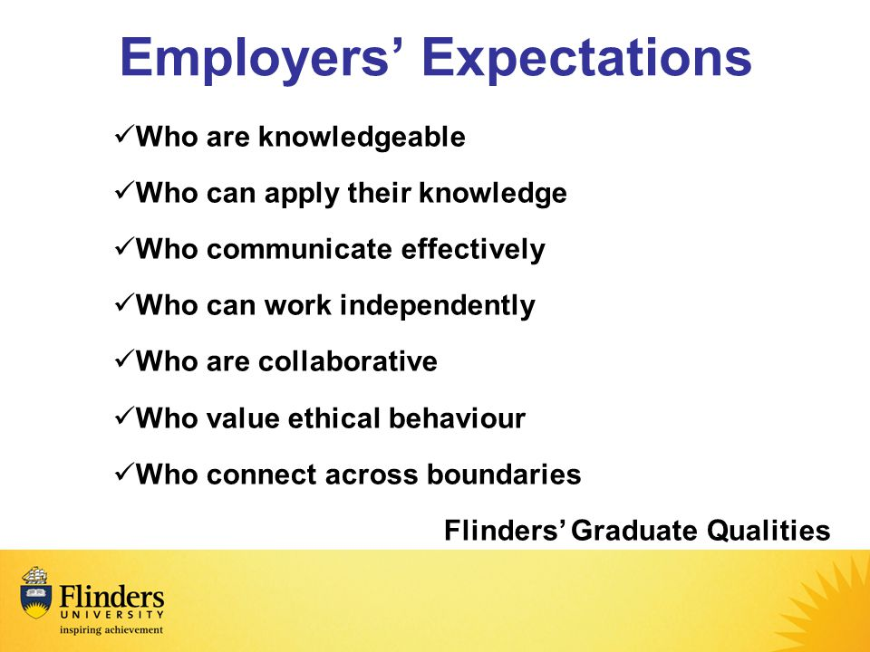 Employers' Expectations Who are knowledgeable Who can apply their knowledge Who communicate effectively Who can work independently Who are collaborative Who value ethical behaviour Who connect across boundaries Flinders' Graduate Qualities