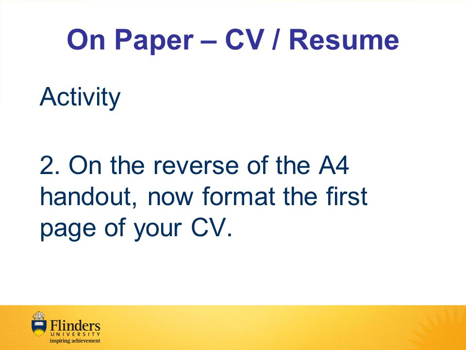 On Paper – CV / Resume Activity 2.