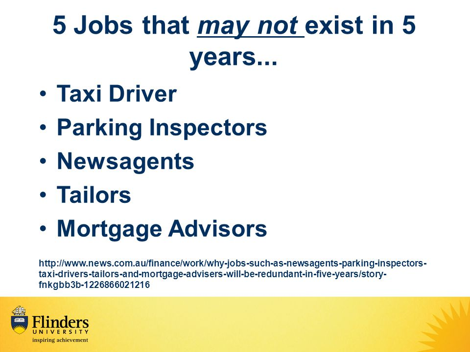 5 Jobs that may not exist in 5 years...
