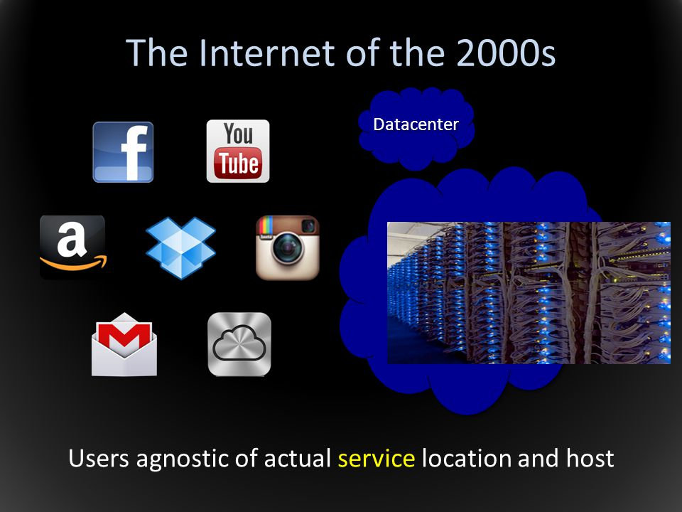Users agnostic of actual service location and host The Internet of the 2000s Datacenter