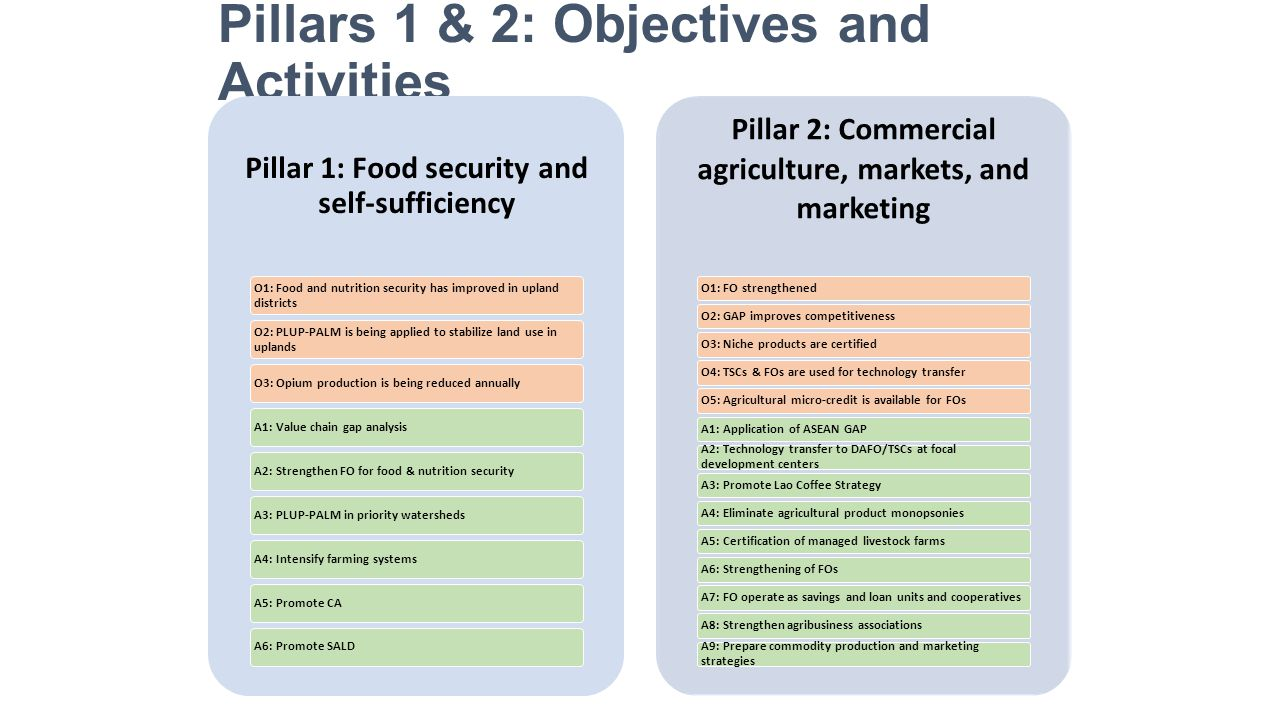 Pillars 1 & 2: Objectives and Activities Pillar 1: Food security and self-sufficiency O1: Food and nutrition security has improved in upland districts O2: PLUP-PALM is being applied to stabilize land use in uplands O3: Opium production is being reduced annuallyA1: Value chain gap analysisA2: Strengthen FO for food & nutrition securityA3: PLUP-PALM in priority watershedsA4: Intensify farming systemsA5: Promote CAA6: Promote SALD Pillar 2: Commercial agriculture, markets, and marketing O1: FO strengthenedO2: GAP improves competitivenessO3: Niche products are certified O4: TSCs & FOs are used for technology transferO5: Agricultural micro-credit is available for FOsA1: Application of ASEAN GAP A2: Technology transfer to DAFO/TSCs at focal development centers A3: Promote Lao Coffee StrategyA4: Eliminate agricultural product monopsoniesA5: Certification of managed livestock farmsA6: Strengthening of FOs A7: FO operate as savings and loan units and cooperativesA8: Strengthen agribusiness associations A9: Prepare commodity production and marketing strategies