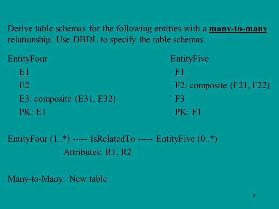 8 Derive table schemas for the following entities with a many-to-many relationship. Use DBDL to specify the table schemas. EntityFour EntityFive E1F1