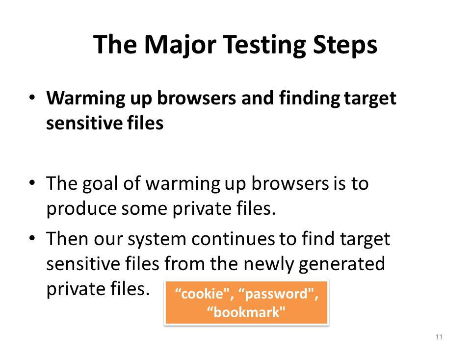 The Major Testing Steps Warming up browsers and finding target sensitive files The goal of warming up browsers is to produce some private files.