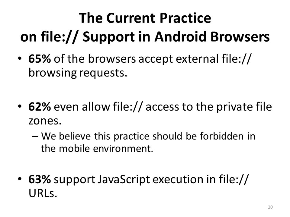 The Current Practice on file:// Support in Android Browsers 20 65% of the browsers accept external file:// browsing requests.