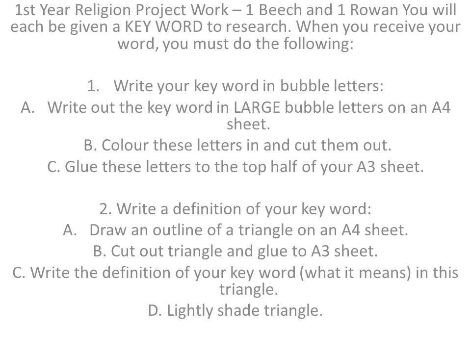 3.Write down what you learned about this key word: A.Draw an outline of a box on an A4 sheet.