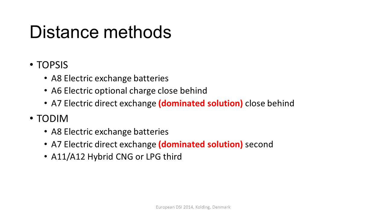 Distance methods TOPSIS A8 Electric exchange batteries A6 Electric optional charge close behind A7 Electric direct exchange (dominated solution) close behind TODIM A8 Electric exchange batteries A7 Electric direct exchange (dominated solution) second A11/A12 Hybrid CNG or LPG third European DSI 2014, Kolding, Denmark