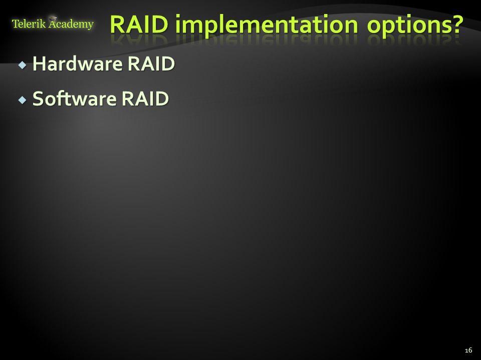  Hardware RAID  Software RAID 16