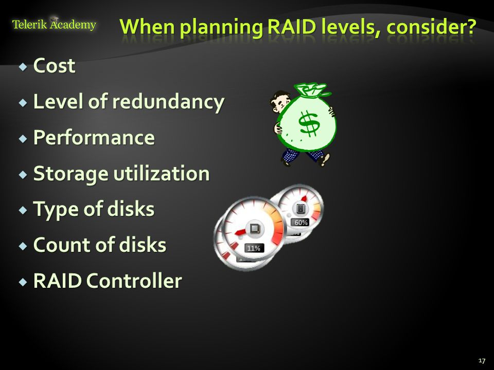  Cost  Level of redundancy  Performance  Storage utilization  Type of disks  Count of disks  RAID Controller 17