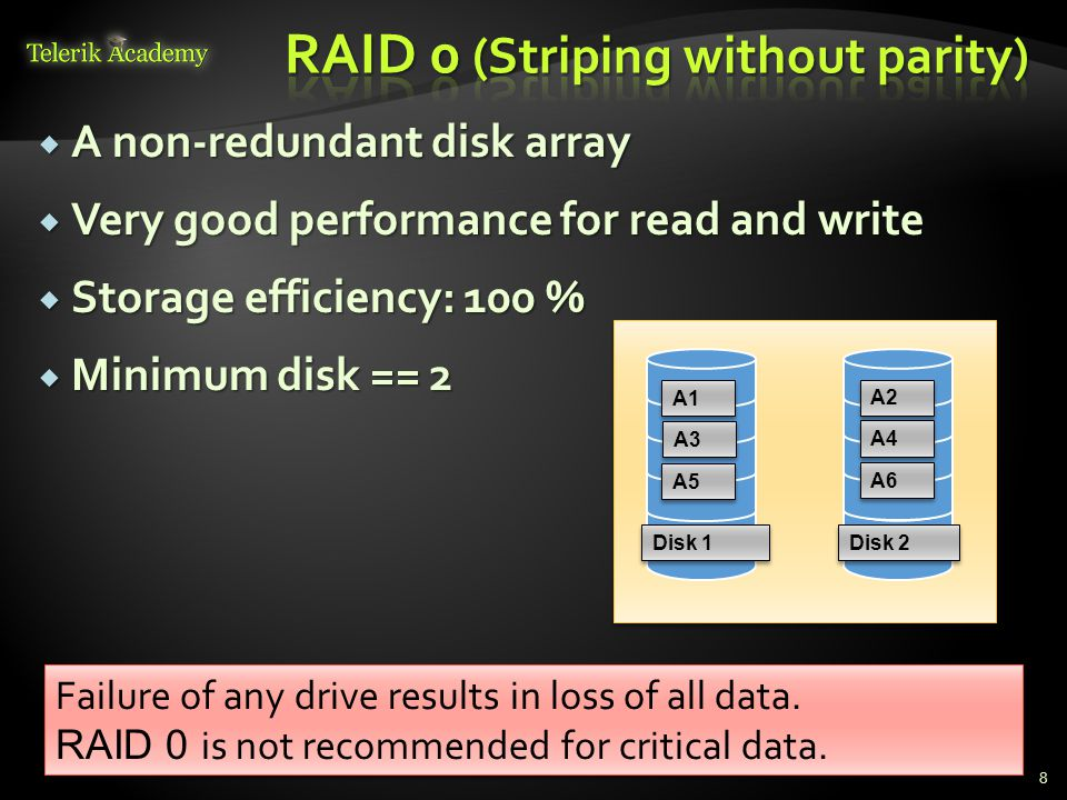  A non-redundant disk array  Very good performance for read and write  Storage efficiency: 100 %  Minimum disk == 2 8 Failure of any drive results in loss of all data.