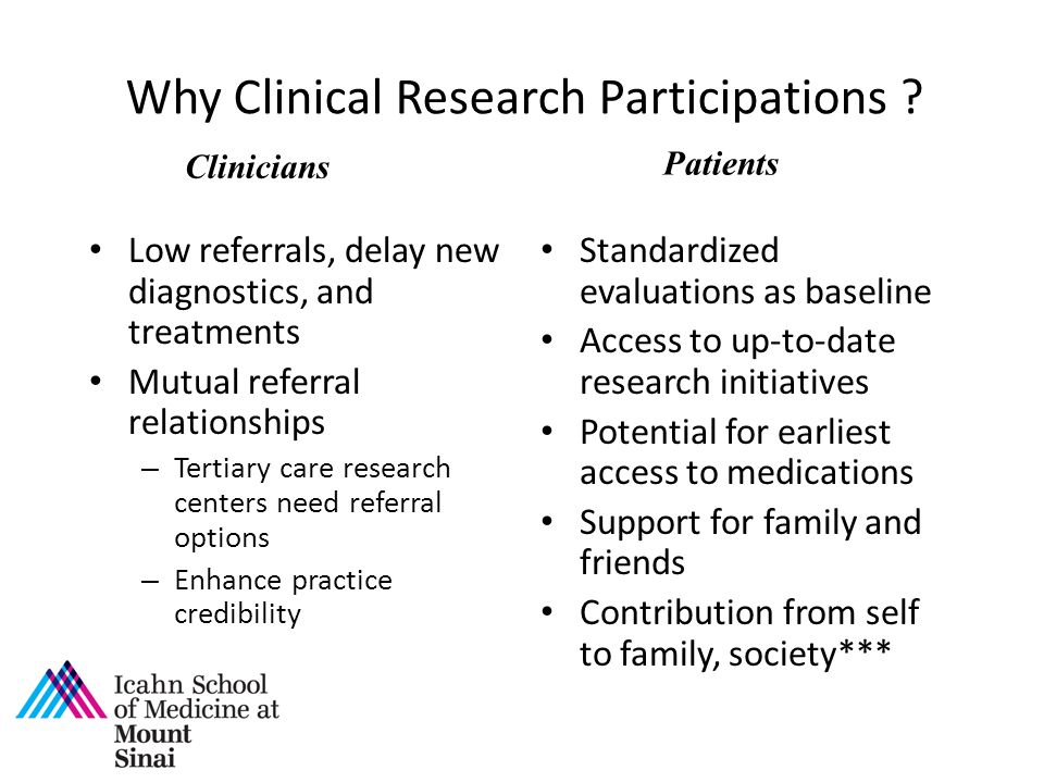 Why Clinical Research Participations ? Low referrals, delay new diagnostics, and treatments Mutual referral relationships – Tertiary care research cen