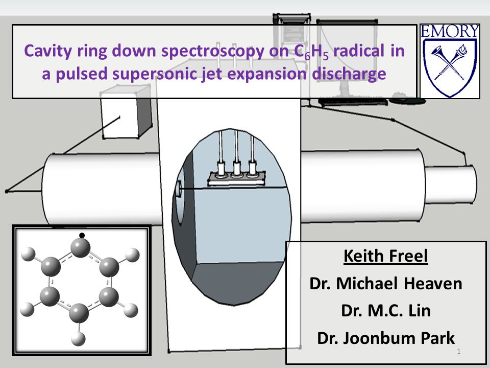 Cavity ring down spectroscopy on C 6 H 5 radical in a pulsed supersonic jet expansion discharge Keith Freel Dr.