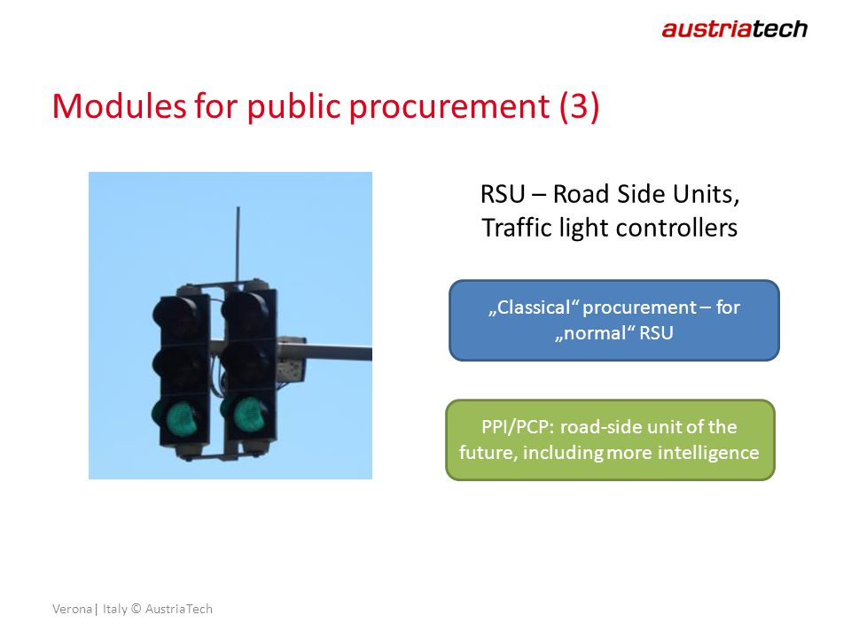 "Verona| Italy © AustriaTech Modules for public procurement (3) RSU – Road Side Units, Traffic light controllers ""Classical procurement – for ""normal RSU PPI/PCP: road-side unit of the future, including more intelligence"