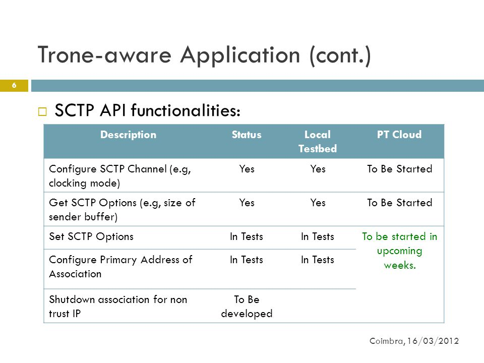 Trone-aware Application (cont.) 6  SCTP API functionalities: Coimbra, 16/03/2012 DescriptionStatusLocal Testbed PT Cloud Configure SCTP Channel (e.g, clocking mode) Yes To Be Started Get SCTP Options (e.g, size of sender buffer) Yes To Be Started Set SCTP OptionsIn Tests To be started in upcoming weeks.