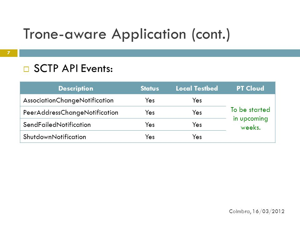 Trone-aware Application (cont.) 7  SCTP API Events: Coimbra, 16/03/2012 DescriptionStatusLocal TestbedPT Cloud AssociationChangeNotificationYes To be started in upcoming weeks.
