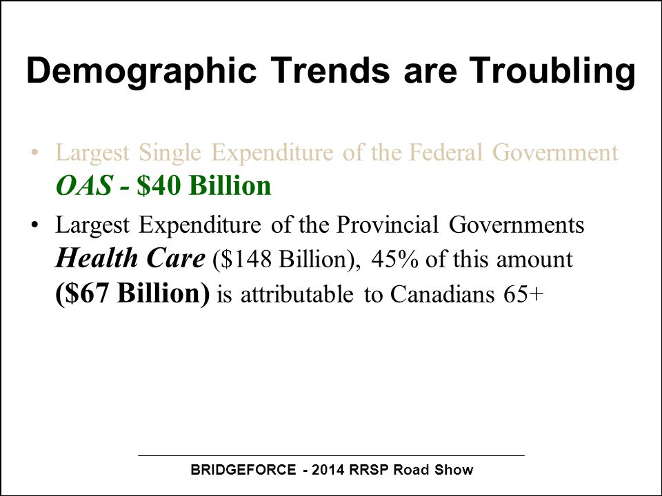 BRIDGEFORCE - 2014 RRSP Road Show Demographic Trends are Troubling Largest Single Expenditure of the Federal Government OAS - $40 Billion Largest Expenditure of the Provincial Governments Health Care ($148 Billion), 45% of this amount ($67 Billion) is attributable to Canadians 65+ Between 2013 and 2036 the elder population will increase by 93%