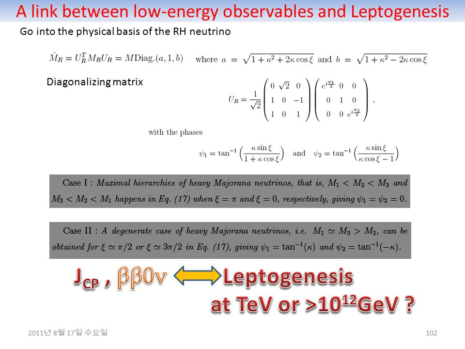 A link between low-energy observables and Leptogenesis 102 Go into the physical basis of the RH neutrino Diagonalizing matrix 2011 년 8 월 17 일 수요일