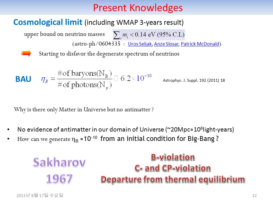 Present Knowledges 12 Cosmological limit (including WMAP 3-years result) upper bound on neutrino masses (astro-ph/0604335 : Uros Seljak, Anze Slosar, Patrick McDonald ) Uros SeljakAnze SlosarPatrick McDonald Starting to disfavor the degenerate spectrum of neutrinos BAU Astrophys.