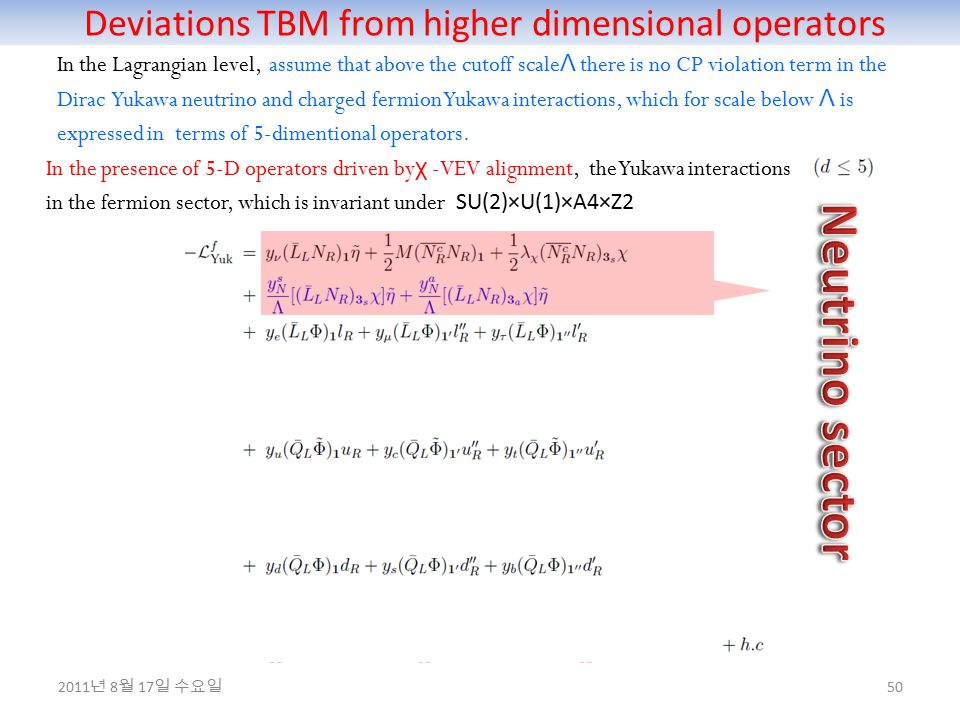 Deviations TBM from higher dimensional operators 50 In the Lagrangian level, assume that above the cutoff scale Λ there is no CP violation term in the Dirac Yukawa neutrino and charged fermion Yukawa interactions, which for scale below Λ is expressed in terms of 5-dimentional operators.