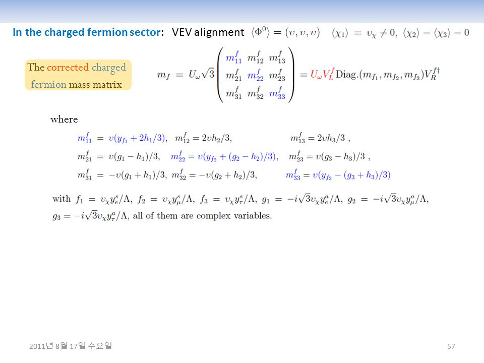 57 In the charged fermion sector: VEV alignment The corrected charged fermion mass matrix where 2011 년 8 월 17 일 수요일