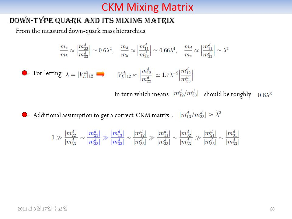 CKM Mixing Matrix 68 Down-type quark and its mixing matrix From the measured down-quark mass hierarchies For letting in turn which means should be roughly Additional assumption to get a correct CKM matrix : 2011 년 8 월 17 일 수요일