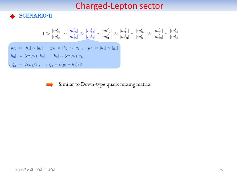 Charged-Lepton sector 75 Scenario-II Similar to Down-type quark mixing matrix 2011 년 8 월 17 일 수요일