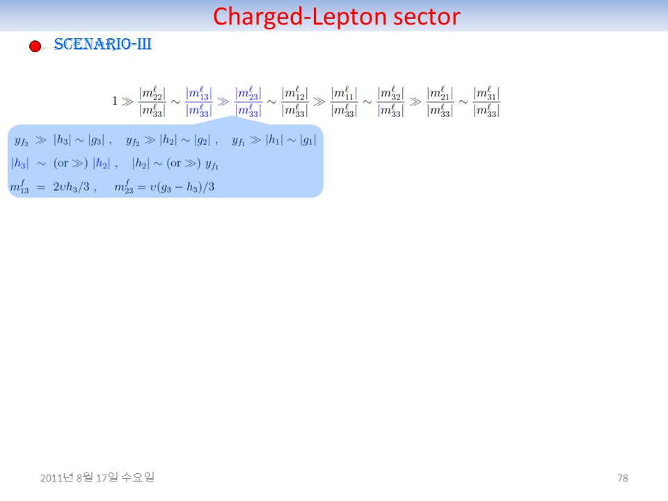 Charged-Lepton sector 78 Scenario-III 2011 년 8 월 17 일 수요일
