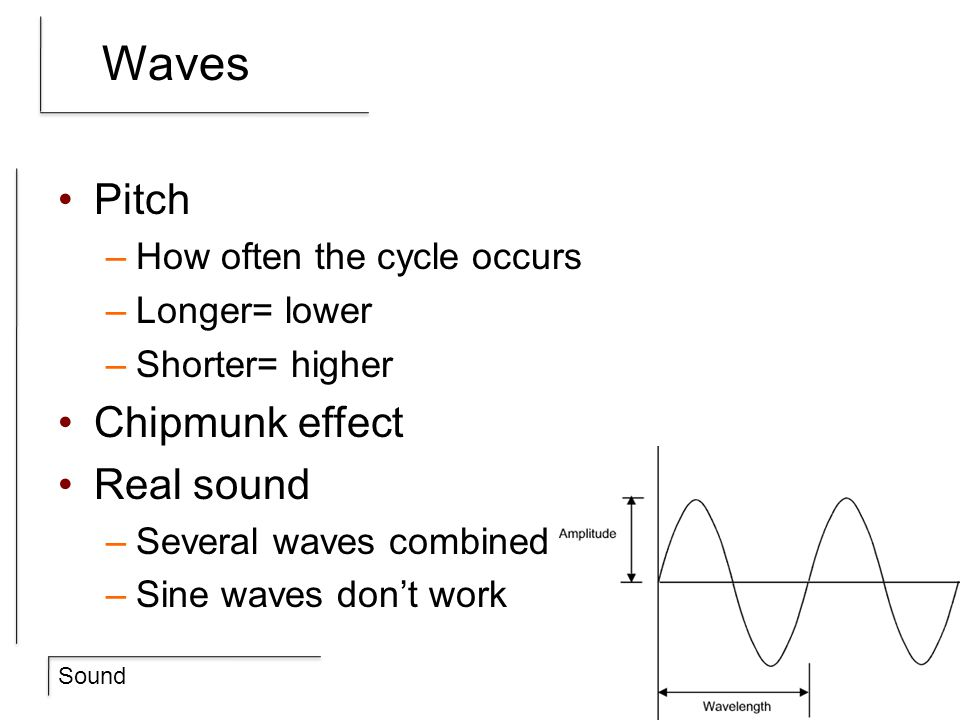 Sound Computers Analog (real world) / Digital (0s and 1s) –Pick a ceiling / floor for amplitudes –How many cycles a second are there.