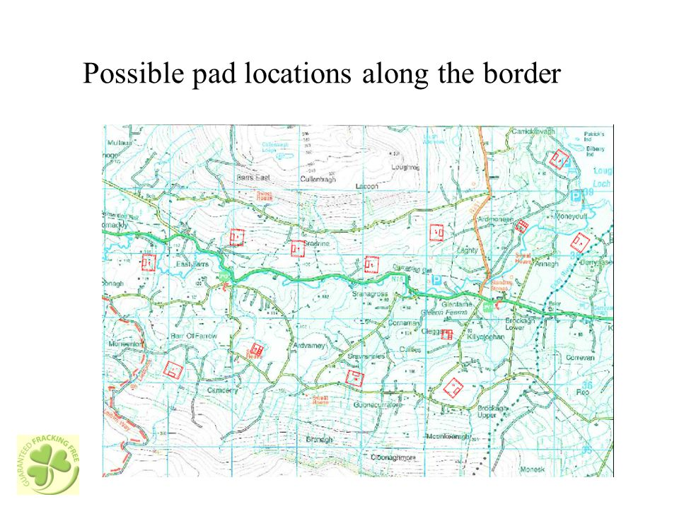 Possible pad locations along the border