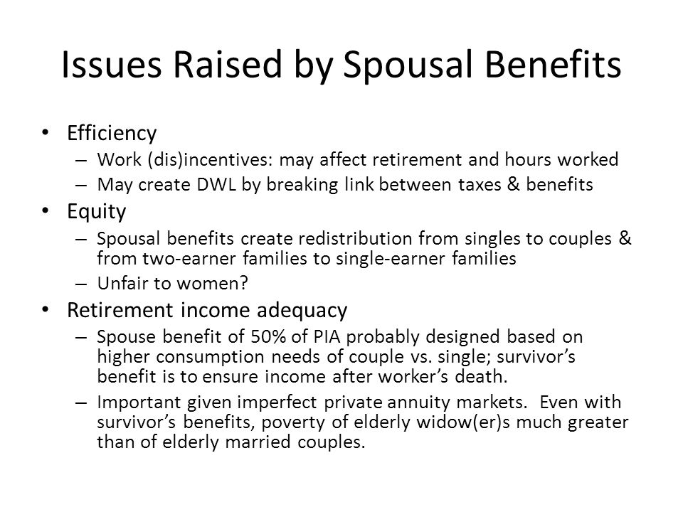 The Origin of Spousal Benefits Dependent spouse and survivor benefits added to Social Security via the 1939 Amendments Text from Roosevelt's signing ceremony: These amendments to the Act represent another tremendous step forward in providing greater security for the people of this country.