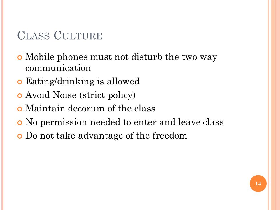 C LASS C ULTURE Mobile phones must not disturb the two way communication Eating/drinking is allowed Avoid Noise (strict policy) Maintain decorum of the class No permission needed to enter and leave class Do not take advantage of the freedom 14