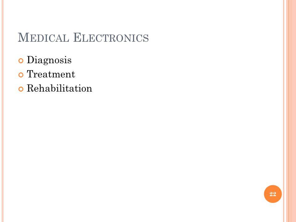 M EDICAL E LECTRONICS Diagnosis Treatment Rehabilitation 22