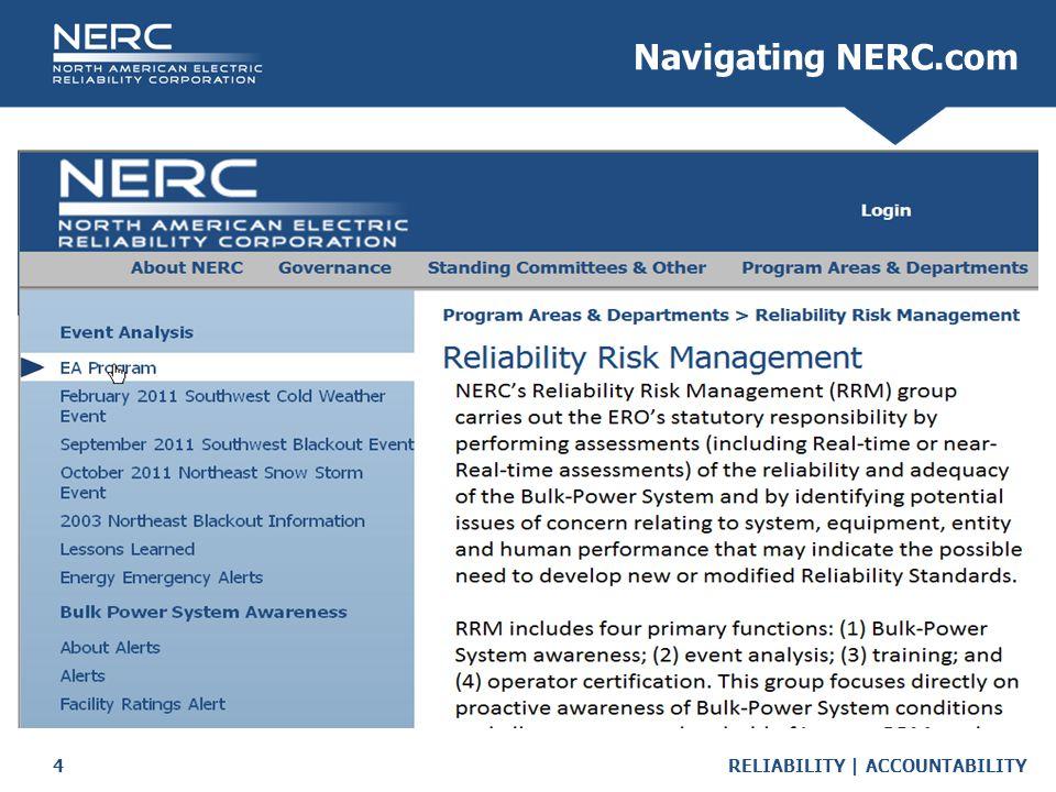 RELIABILITY | ACCOUNTABILITY4 Navigating NERC.com
