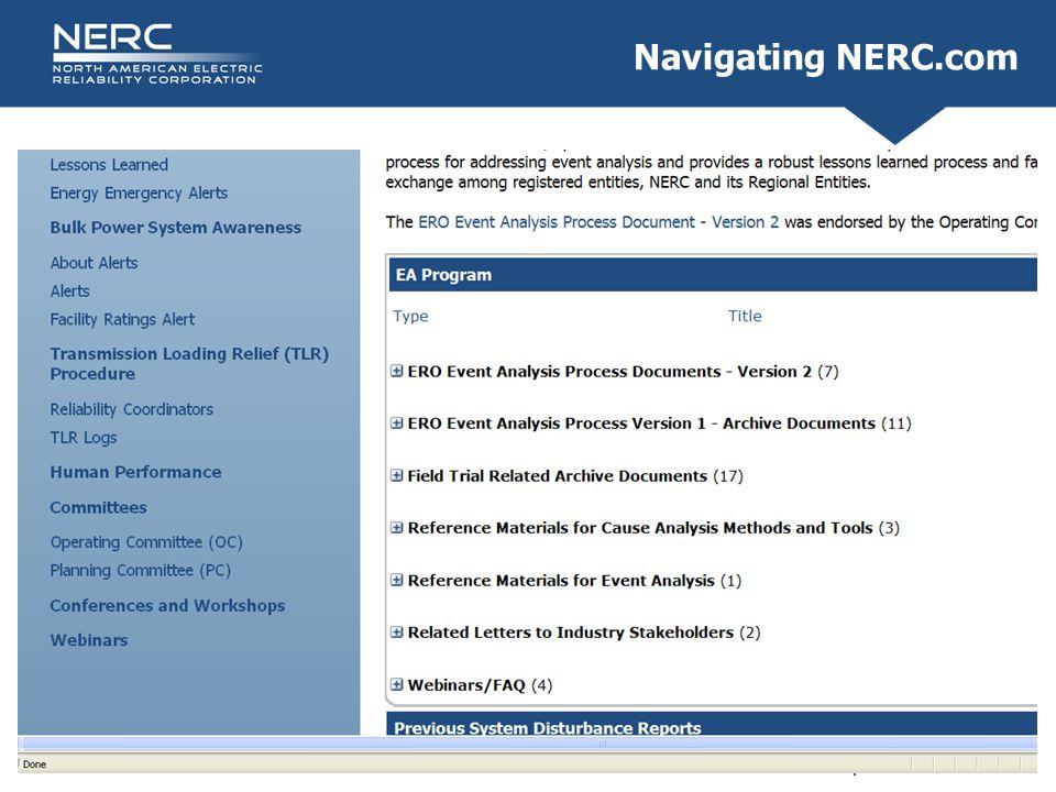 RELIABILITY | ACCOUNTABILITY5 Navigating NERC.com