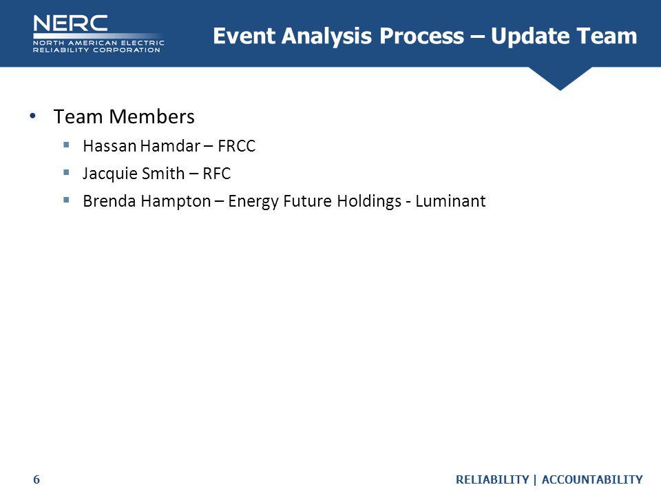 RELIABILITY | ACCOUNTABILITY6 Event Analysis Process – Update Team Team Members  Hassan Hamdar – FRCC  Jacquie Smith – RFC  Brenda Hampton – Energy Future Holdings - Luminant