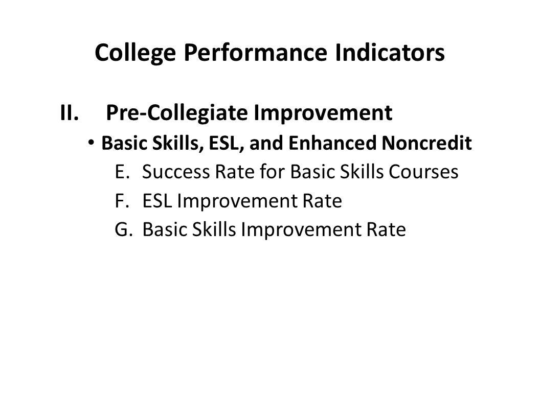 College Performance Indicators II.Pre-Collegiate Improvement Basic Skills, ESL, and Enhanced Noncredit E.Success Rate for Basic Skills Courses F.ESL I