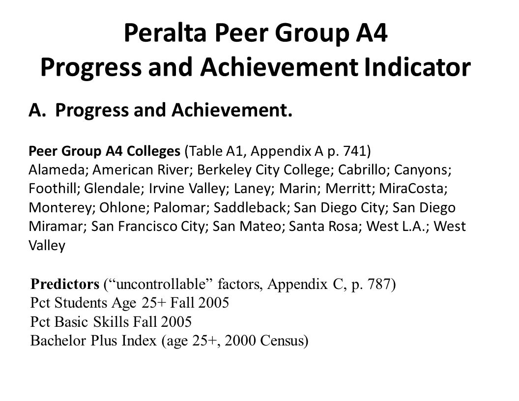 Peralta Peer Group A4 Progress and Achievement Indicator A.Progress and Achievement. Peer Group A4 Colleges (Table A1, Appendix A p. 741) Alameda; Ame