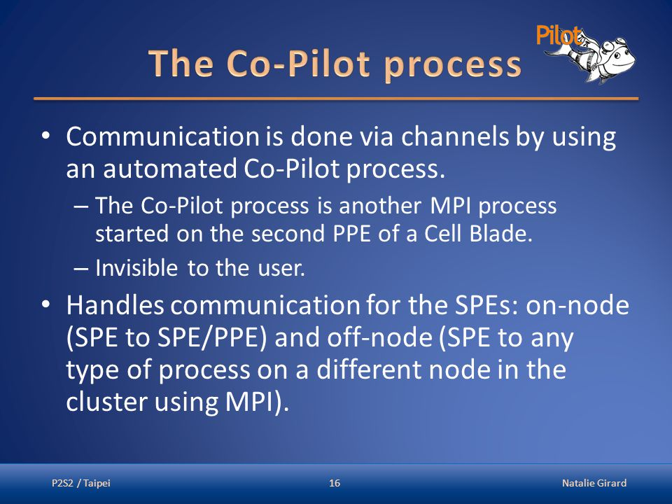 Communication is done via channels by using an automated Co-Pilot process.