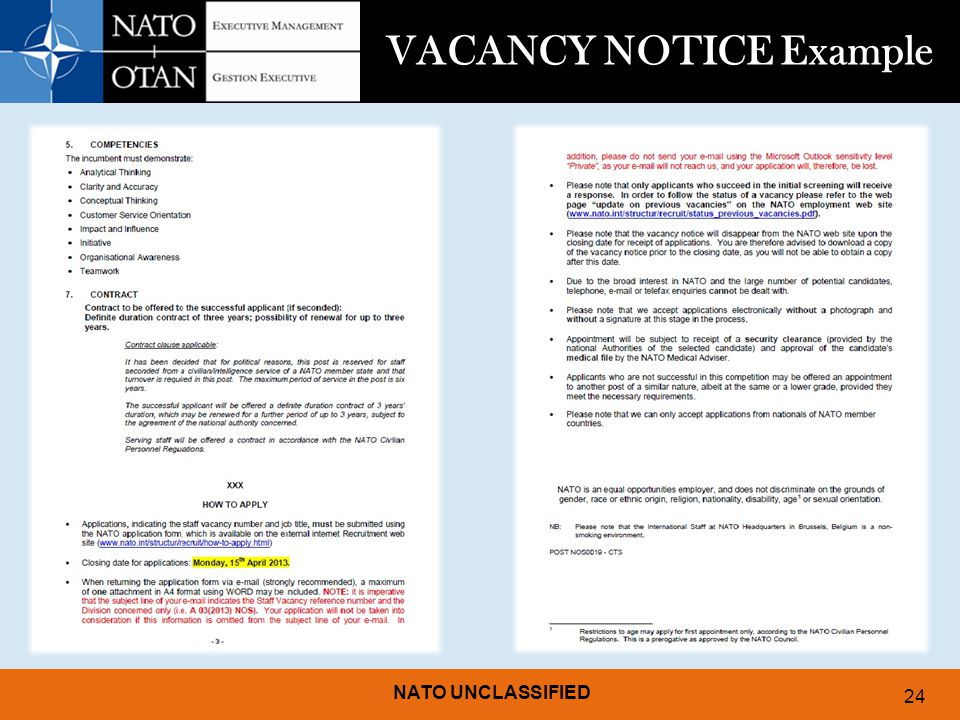 NATO UNCLASSIFIED 24 VACANCY NOTICE Example