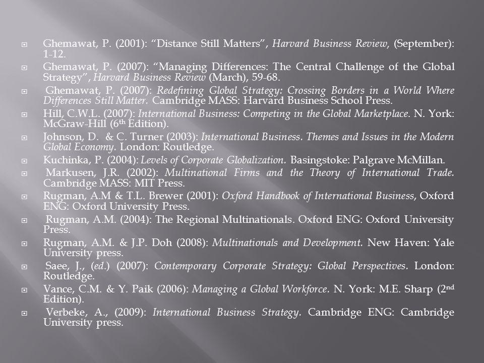 Ghemawat, P. (2001): Distance Still Matters , Harvard Business Review, (September): 1-12.