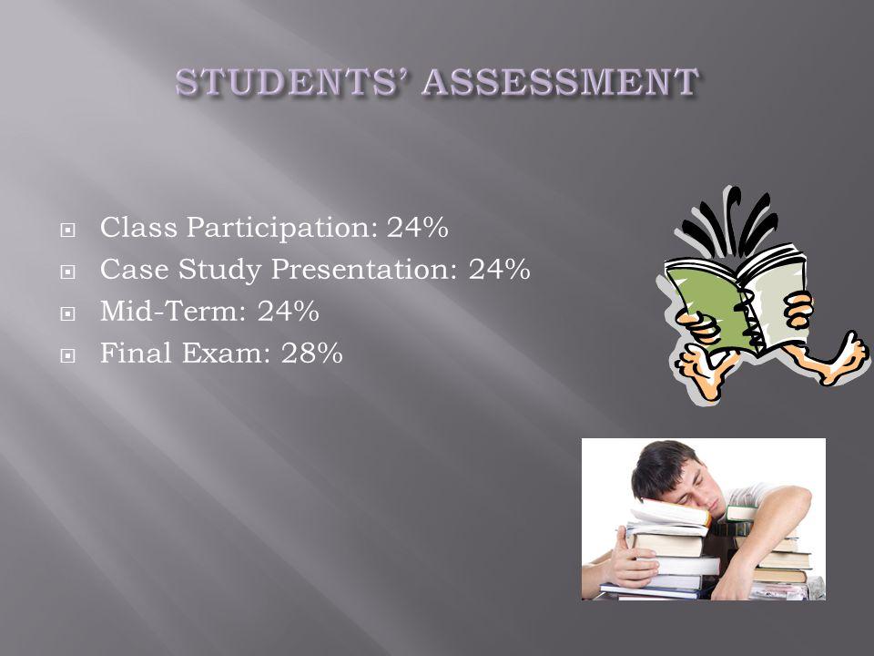  Class Participation: 24%  Case Study Presentation: 24%  Mid-Term: 24%  Final Exam: 28%