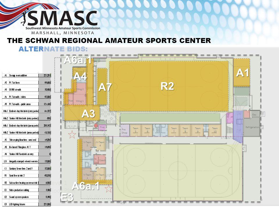 THE SCHWAN REGIONAL AMATEUR SPORTS CENTER ALTERNATE BIDS: A1 R2 A7 A4 A6a.1 A3 6 A6a.1 E3