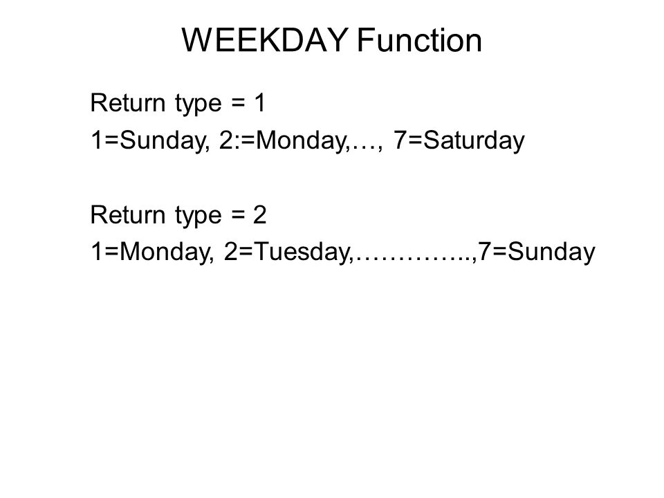 WEEKDAY Function Return type = 1 1=Sunday, 2:=Monday,…, 7=Saturday Return type = 2 1=Monday, 2=Tuesday,…………..,7=Sunday