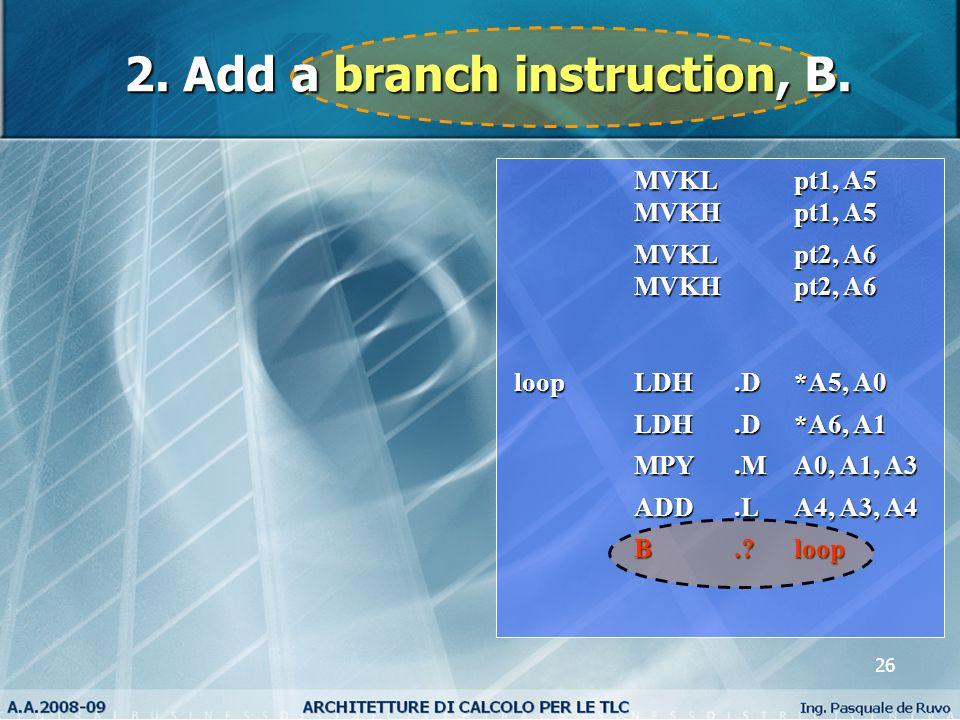 26 MVKL pt1, A5 MVKL pt1, A5 MVKH pt1, A5 MVKH pt1, A5 MVKL pt2, A6 MVKL pt2, A6 MVKH pt2, A6 MVKH pt2, A6 loop LDH.D*A5, A0 LDH.D*A6, A1 LDH.D*A6, A1 MPY.MA0, A1, A3 MPY.MA0, A1, A3 ADD.LA4, A3, A4 ADD.LA4, A3, A4 B. loop 2.
