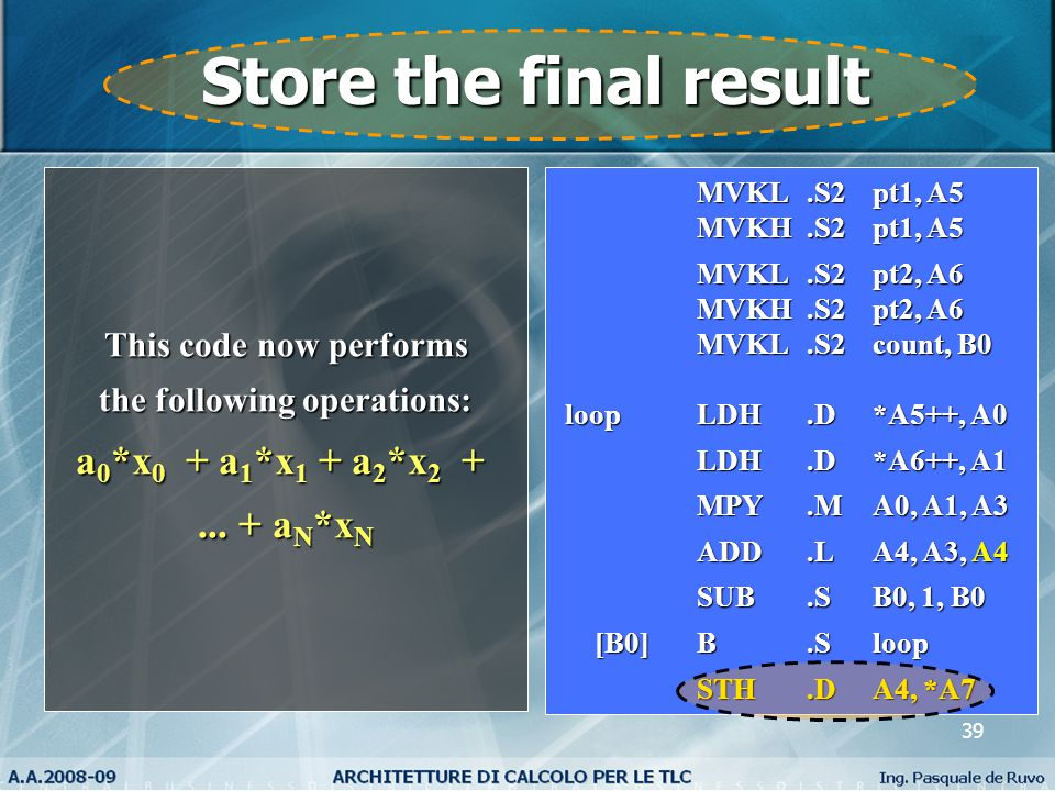 39 Store the final result This code now performs the following operations: a 0 *x 0 + a 1 *x 1 + a 2 *x