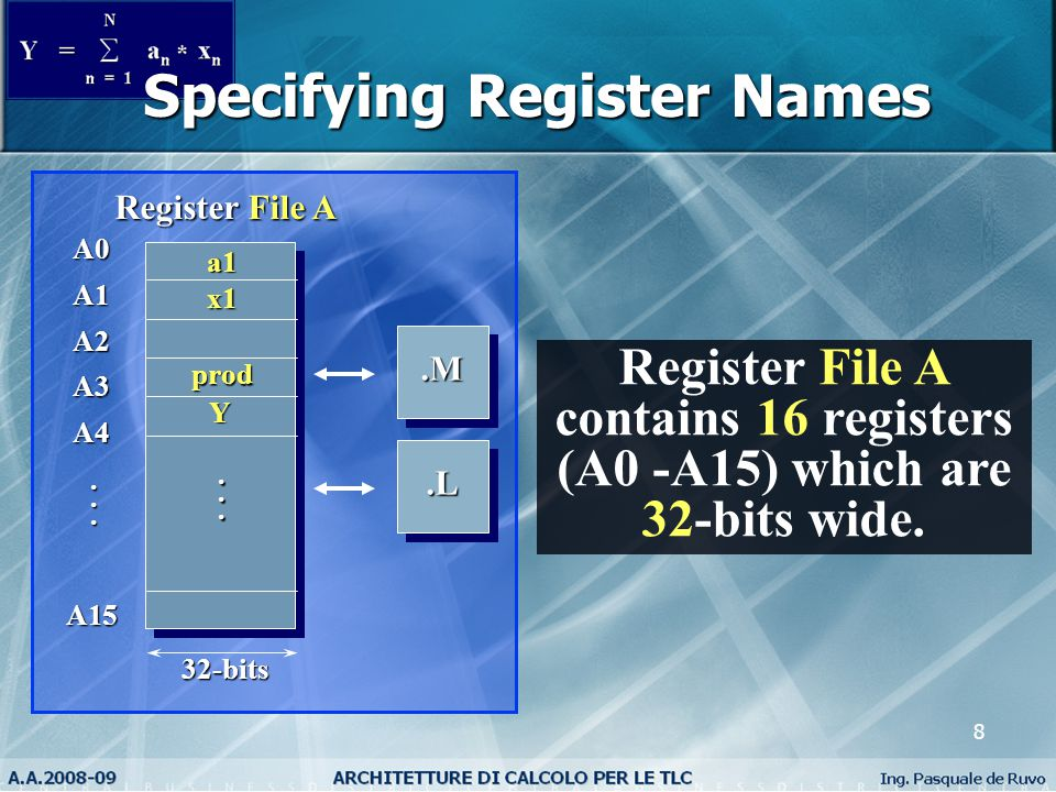 8 Specifying Register Names Register File A contains 16 registers (A0 -A15) which are 32-bits wide..M.M.L.L A0A1A2A3A4A15 Register File A