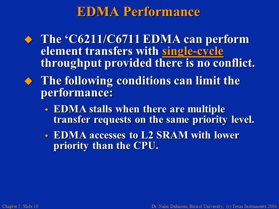 Dr. Naim Dahnoun, Bristol University, (c) Texas Instruments 2004 Chapter 5, Slide 10 EDMA Performance  The 'C6211/C6711 EDMA can perform element tran
